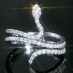 Silver Plated Crystal Snake Ring